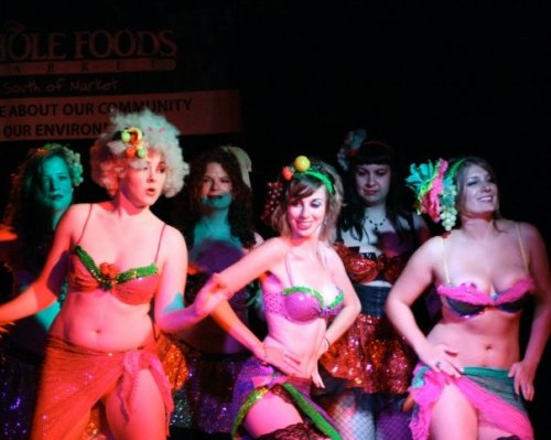 "These girls choreographed this at to ""Come on'a My House"" in the Burlesquercise Intensive series. Front row, L to R: Kiki Yeah Yeah, Sultra Violet, Vicious Veronica Voom. Back row, L to R: Loreley, ..., and Fina Fatale."